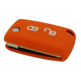 Etui Housse silicone 2 boutons - ORANGE