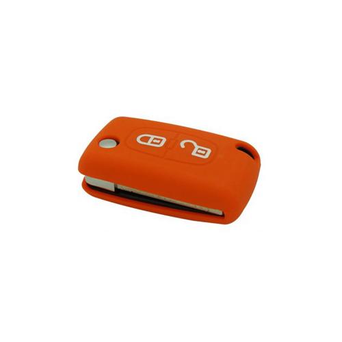 Etui Housse silicone 2 boutons - ORANGE