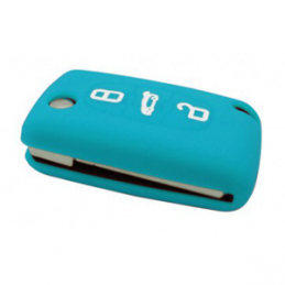 Etui Housse silicone 3 boutons - BLEU