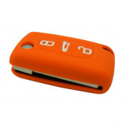 Etui Housse silicone 3 boutons - ORANGE
